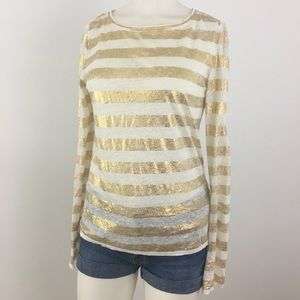 Alice + Olivia Linen Gold Striped Long Sleeve Top